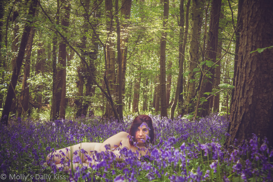 Molly laying naked in the bluebells looking directly at the camera