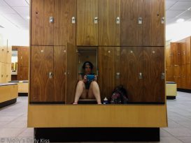 Molly sitting in with no pants on in locker in ladies locker room