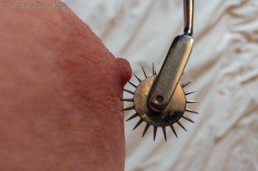 Pinwheel spiked on molly's nipple