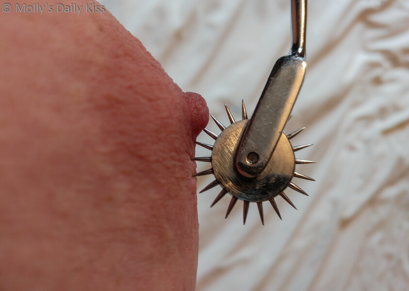 Pinwheel spiked on molly's nipple