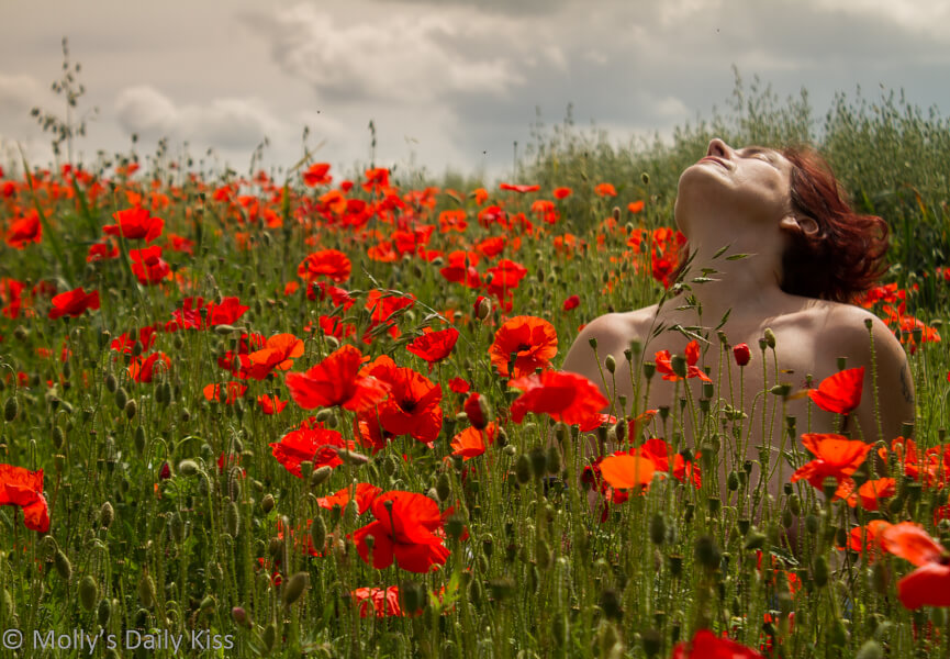 Molly topless in field of red poppies