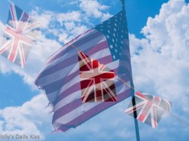 Stars nd Stripes with Union Jack over the top to represent difference between american and british english language