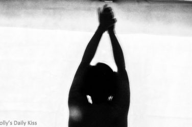 Snippet of Molly's sinfulsunday picture. Silhouette of mollys head and arms for post called darling sin