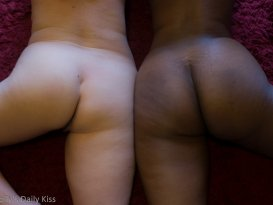 Mollys white bottom next to Cara's black bottom for a post called diversity