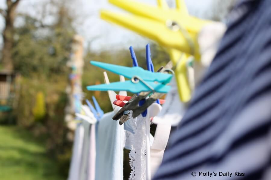 clothes nd sheets on the washing line