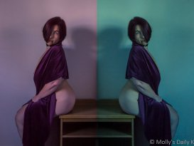 Diptych of Molly sitting back to back on stool wearing purple velvet wrap and nothing else looking into the camera