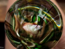 reflection in the head of a glass dildo is a piece of art