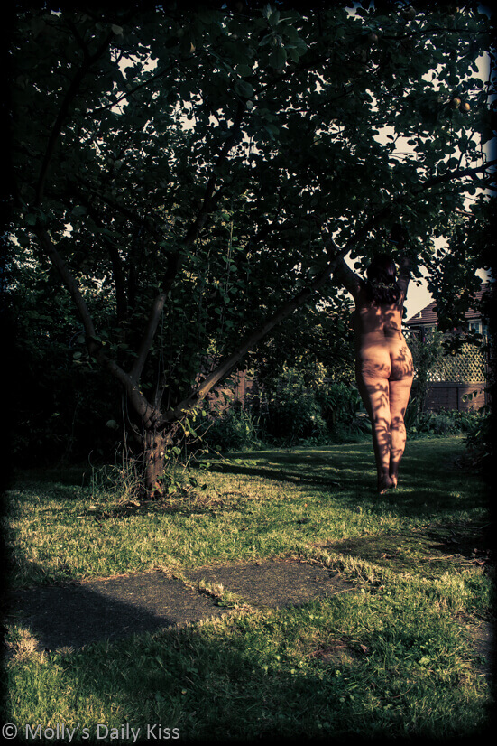 Molly naked underneath Quince tree