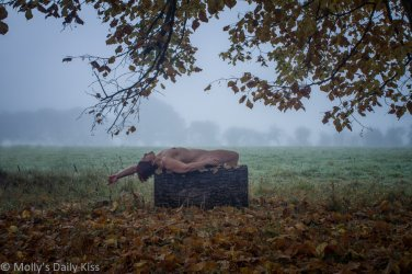 Molly laying on her back naked on a log beneath a tree with autumn leaves and misty trees in the background