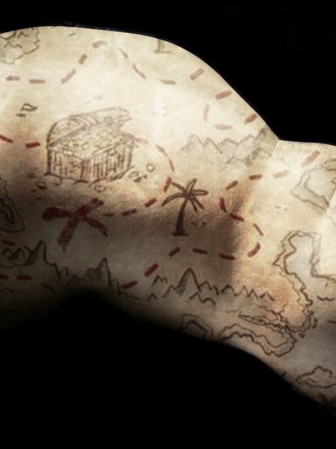 treasure map double exposure over mollys naked skin