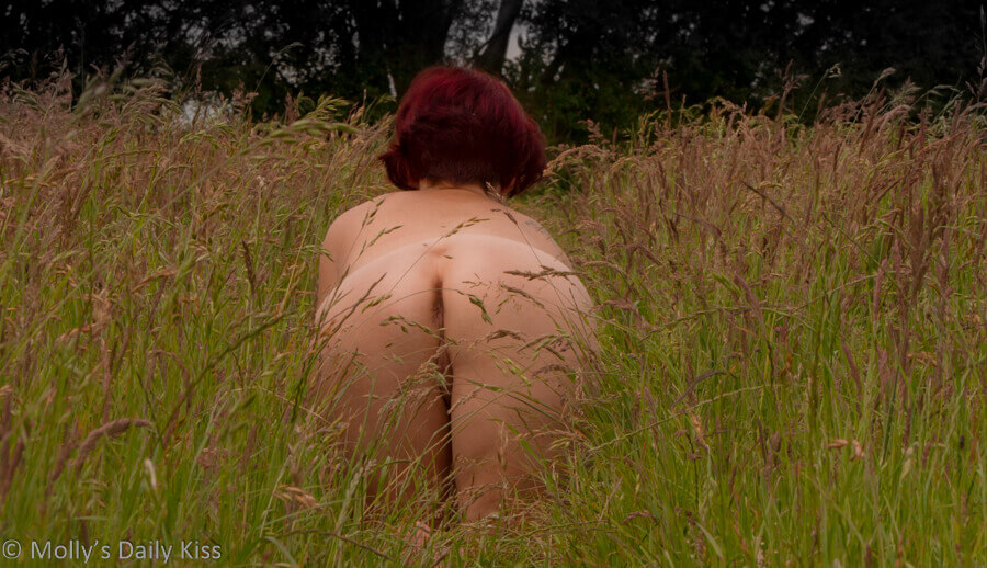 Molly naked on hands and kness in the long grass for post called Let's go outside