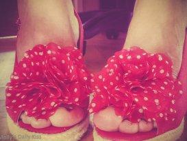Molly's feet in polka dot 1950's retro shoes