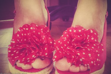 Molly's feet in polka dot 1950's retro shoes