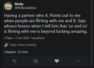 Screen capture of tweet by Molly about having a supportive partner when it comes to her slutty desires