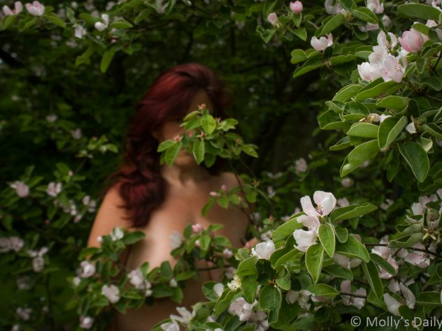 Molly standing topless in quince tree blossom for both about constant friends