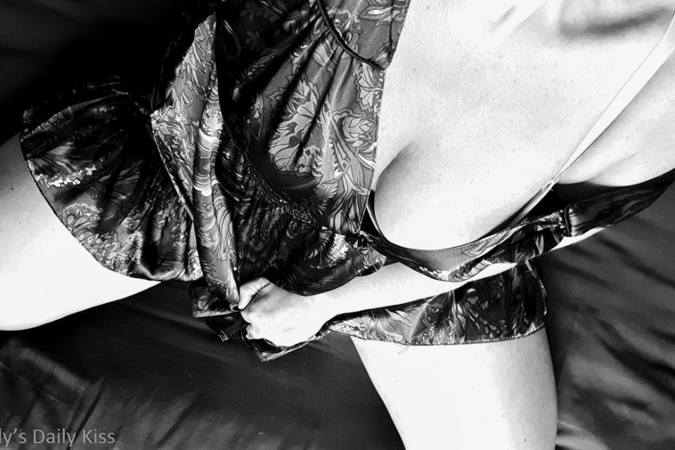 Looking down molly's front at her dress slipped on her shoulder showing the swell of her breast for post about sweet pain of anticpation