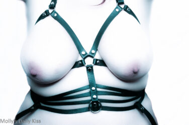 Topless woman in leather chest harness with little wisp of hair showing