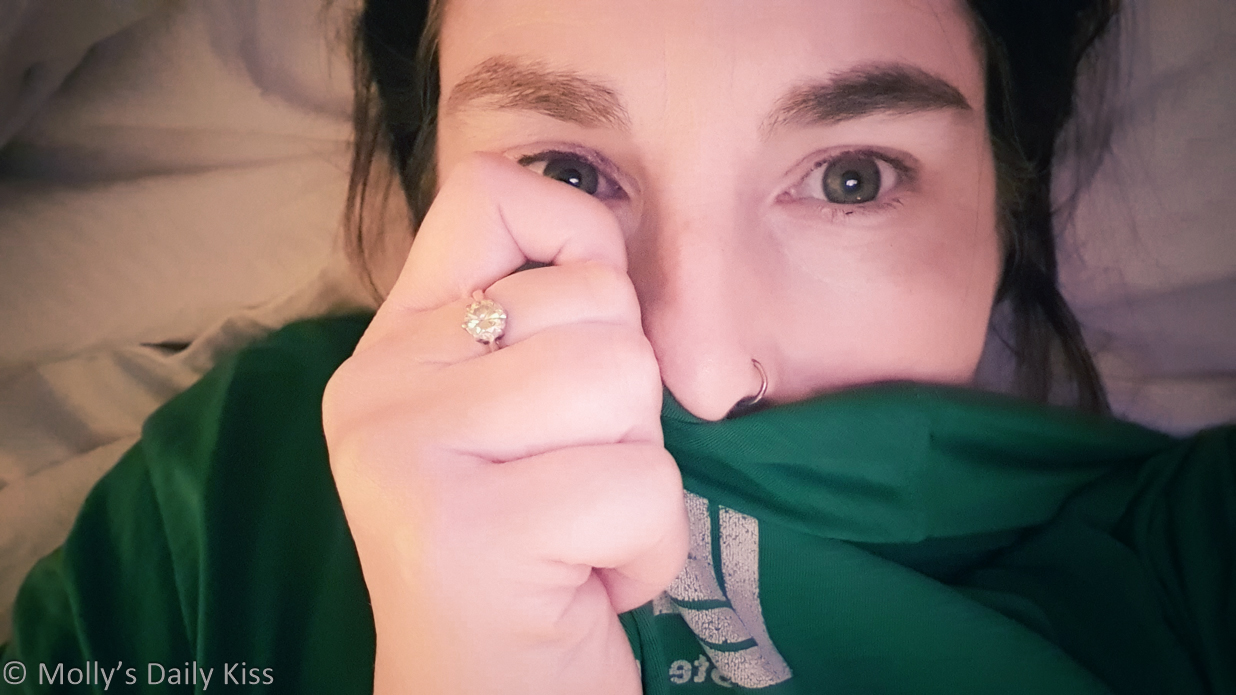 molly sniffing green t shirt for post about scent