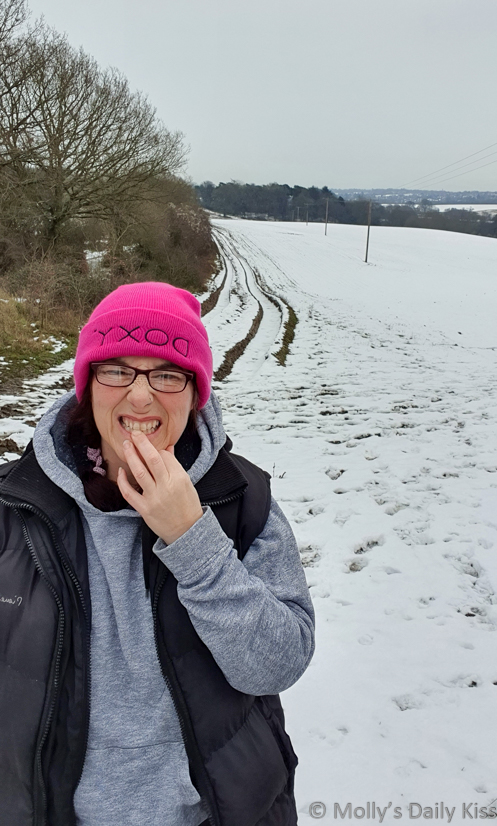 molly wearing doxy hat in the snow