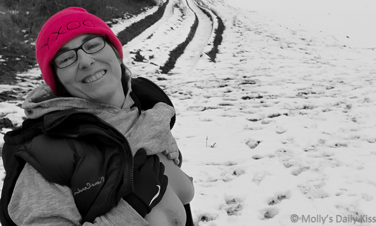 molly showing her snow tits wearing pink doxy hat