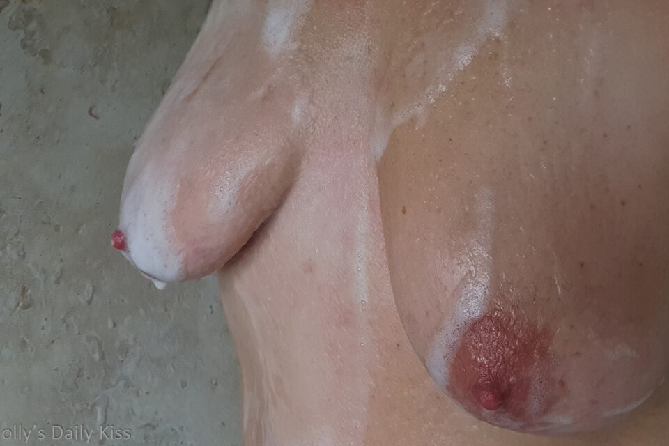 mollys boobs covered in soap in the shower