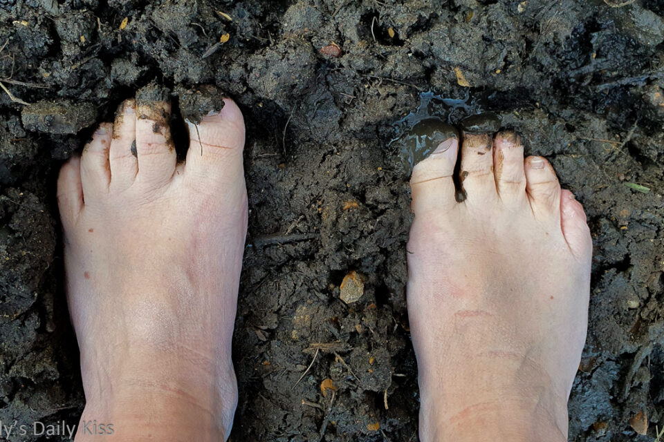 mollys bare feet in the muddy woods