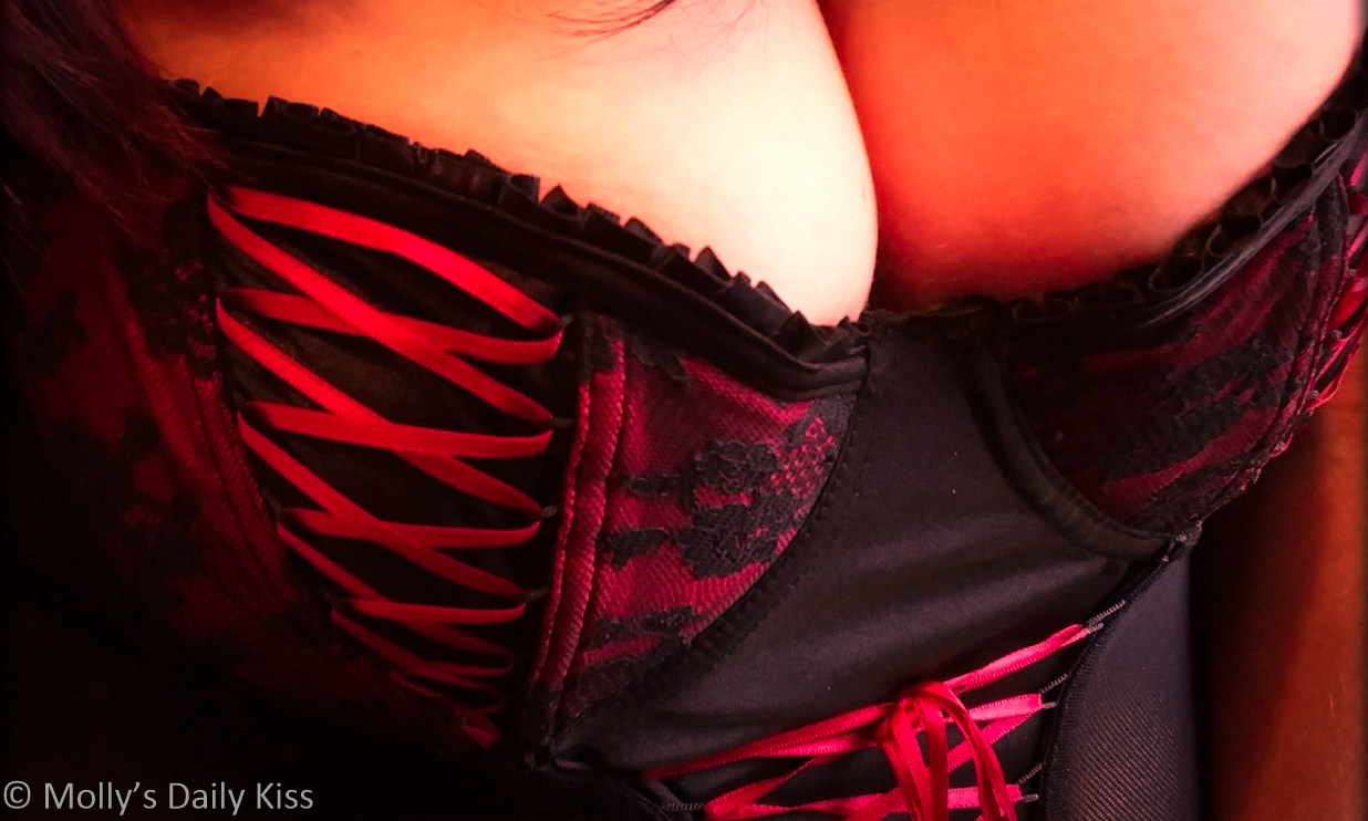 cropped image of molly in basque with red ribbon details