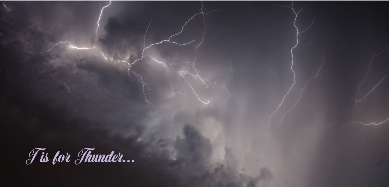 picture of lighting in dark sky with words.. T is for Thunder on it