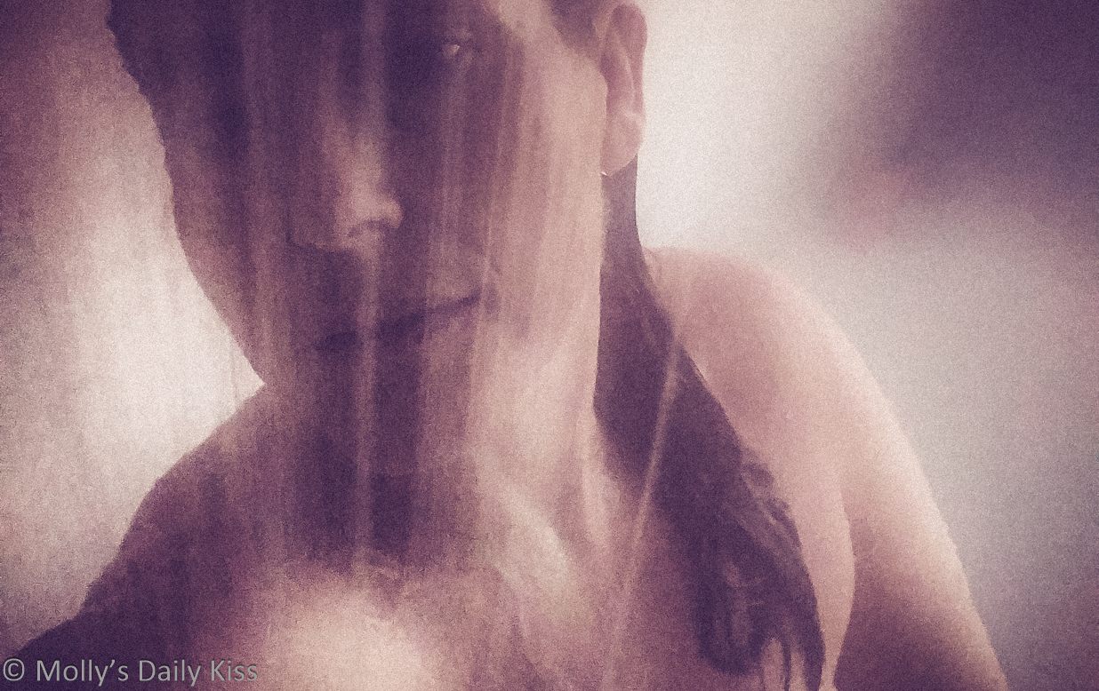 cropped image of Molly in the shower