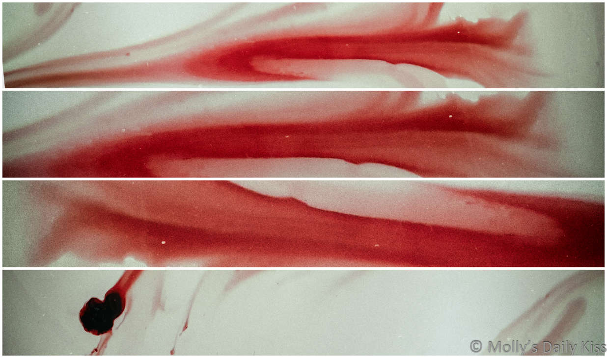 Triptych of period blood in the bath